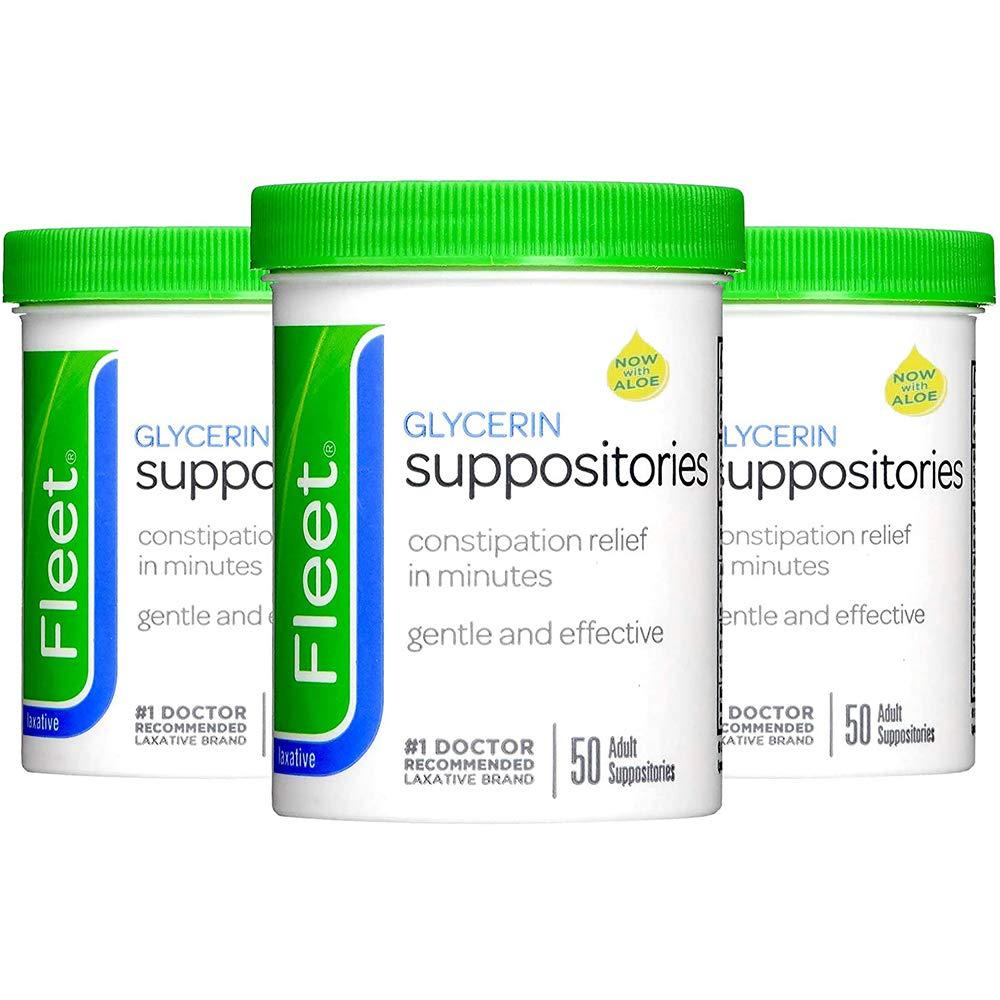 Fleet Laxative Glycerin Suppositories | 50 suppositories | Pack of 3 | 3 Count