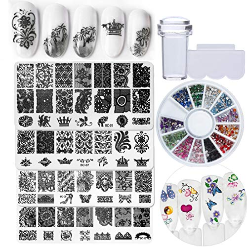 (Nail Art Stamping Kit Image Plate Template Stamper Clear Jelly with Scraper, Decoration Rhinestone Sticker for Nail Design DIY Salon(Bi015B) )