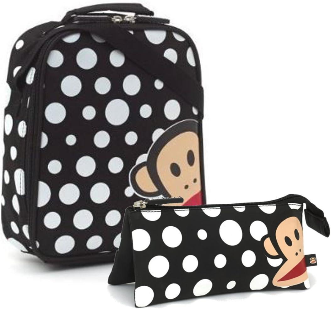 Paul Frank blanco y negro de lunares diseño de bolsa para el almuerzo fiambrera a juego estuche con diseño floral: Amazon.es: Hogar