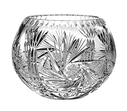 (Barski European Hand Cut - Crystal Rose Bowl - Pinwheel Design 7