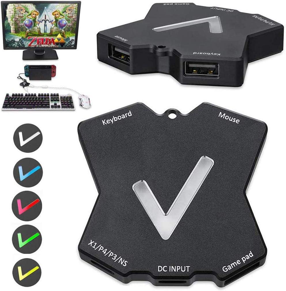 Adaptador de Teclado y ratón para Xbox One / PS4 / PS3 / Nintendo Switch, Adaptador de Teclado PS4 & Adaptador de Teclado Xbox con Luces LED de respiración para Juegos como