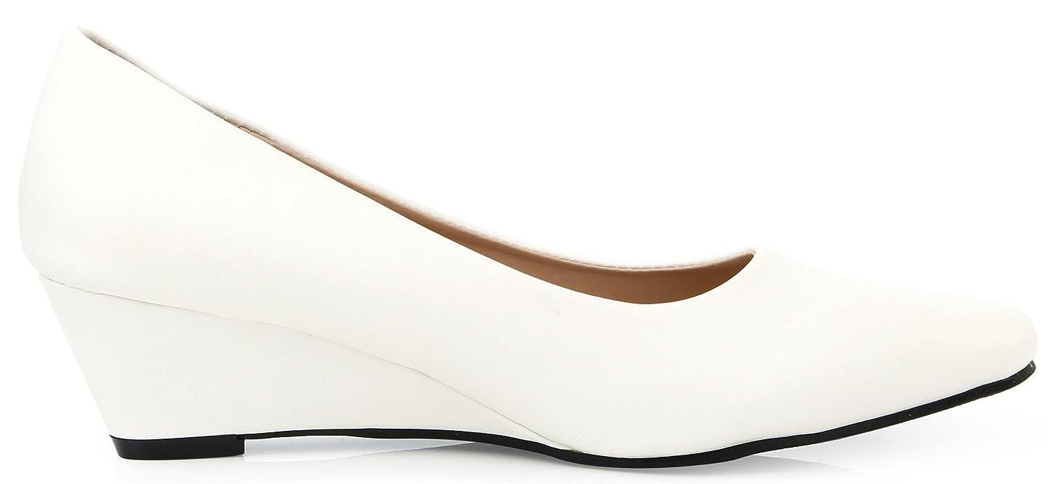 AgeeMi Shoes Mujer Puntera EN Punta Cerrada Sólido Sin Cordones Cuña de Salón,EuD22 Blanco 36