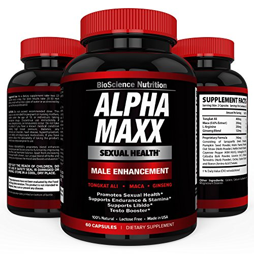 AlphaMAXX Male Enhancement Supplement – Ginseng, Muira Puama, Tribulus – 60 Herbal Pill – BioScience Nutrition (Penis Enhancement Pill)