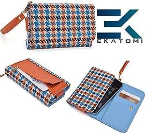 LIGHT BLUE & ORANGE Checker Pattern| Universal ZTE N880E Carrying Case Wrist-let Wallet BONUS EKATOMi Screen Cleaner*