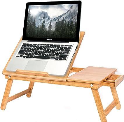 Portatile Tavolino for Laptop Tavolo for Computer Tavolino da Scrivania Color : Bamboo, Size : 60x40cm Regolabile in Altezza Tavolino da Divano GUOQING Portatile Tavolo Laptop Tavolino Serviletto