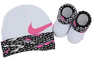 93374c20d Nike Baby Girls Big Swoosh Graphic Print Hat & Booties Set, Black/Hyper  Pink/Grey, 0-6M
