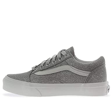 fe6ea8984edc Amazon.com: Vans Kids Old Skool (Lurex Glitter) Silver/Tr Kids Size 2:  Clothing