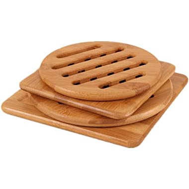 Natural Bamboo Trivet Mat Set, Kitchen Wood Hot Pads Trivet, Heat Resistant Pads for Hot Dishes/Pot/Bowl/Teapot/Hot Pot Holders, Anti-Hot Non-Slip Durable,Square and Round (Pack of 4), by MUWENTY