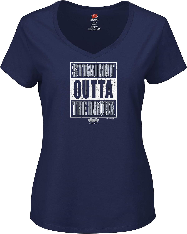 Straight Outta The Bronx Navy Ladies Shirt Sm-2x Smack Apparel New York Baseball Fans