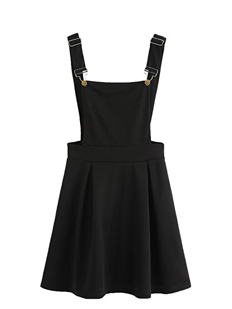 1eb334f02a Romwe Women s Cute A Line Adjustable Straps Pleated Mini Overall Pinafore  Dress Black S