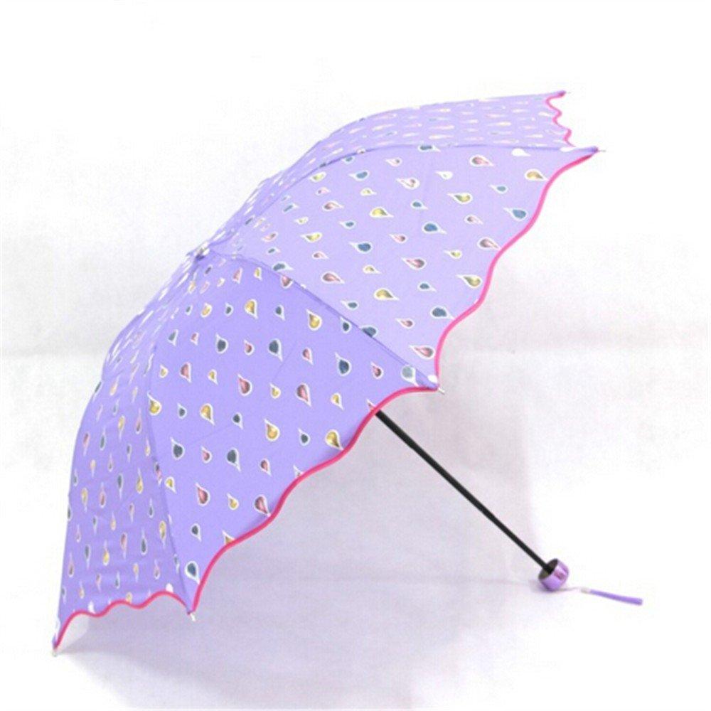 Paraguas de la moda Cambio de color a prueba de viento, Agua Activada Princesa Paraguas Plegable Morado: Amazon.es: Hogar