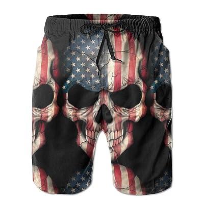 Padada American Flag Skull Mens Shorts Loose Summer Swimming Trunks Running Swimming and Surfing