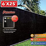 Fence4ever 6'x25' Black Fence Privacy Screen Windscreen Cover Shade Cloth Mesh Fabric Slats Netting Tarp for Home Yard Construction