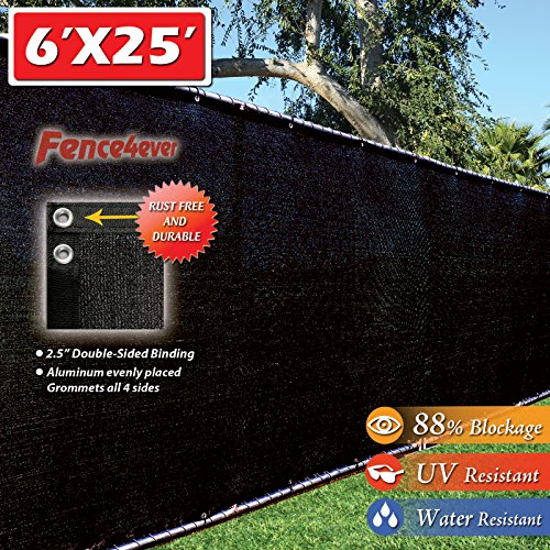 Fence4ever 6 x25 Black Fence Privacy Screen Windscreen Cover Shade Cloth Mesh Fabric Slats Netting Tarp for Home Yard Construction