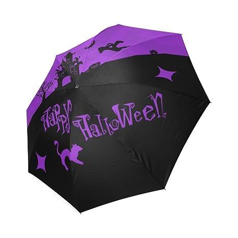wokfox morado Halloween diseño personalizado fresco portátil plegable paraguas de viaje