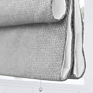 Artdix Cordless Roman Shades Blinds Window Shades - Grey (1 Piece) Blackout Light Filtering Solid Thermal Fabric Custom Made Roman Shades for Windows, Doors, Home, Kitchen