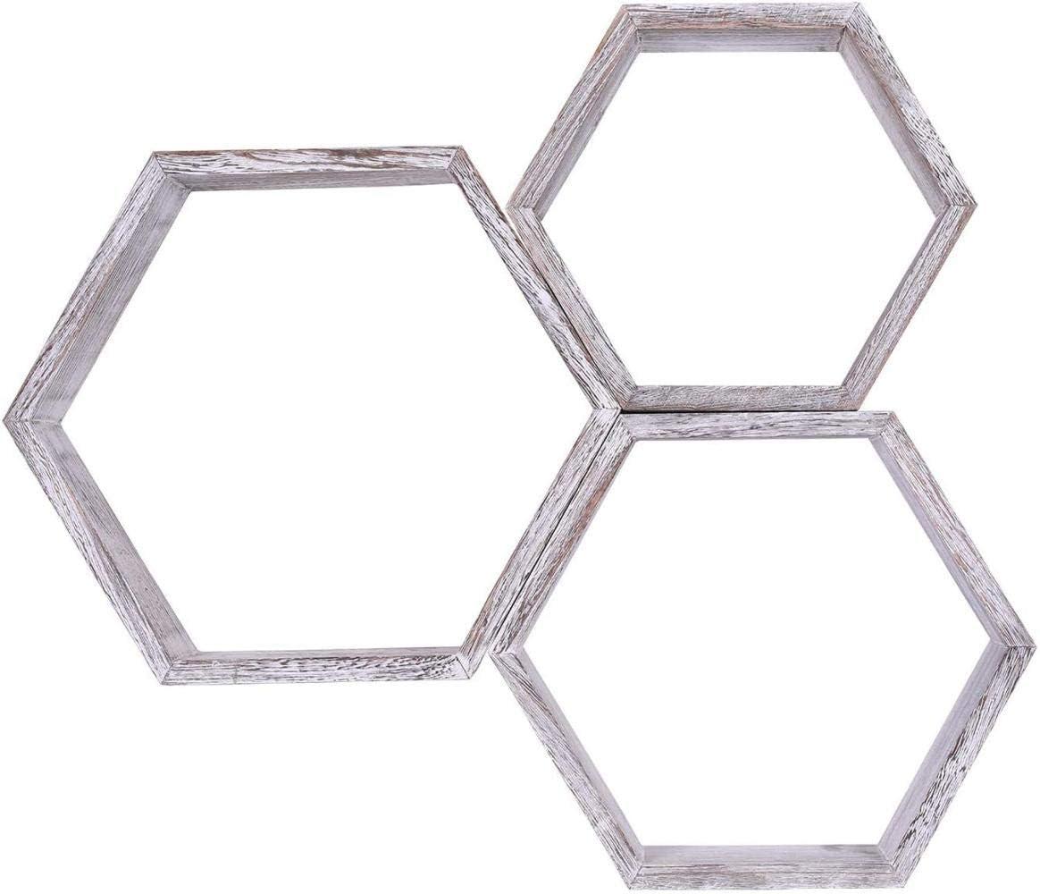 Blanco r/ústico GDFS Estantes flotantes hexagonales de Pared Blanca r/ústica Juego de 3