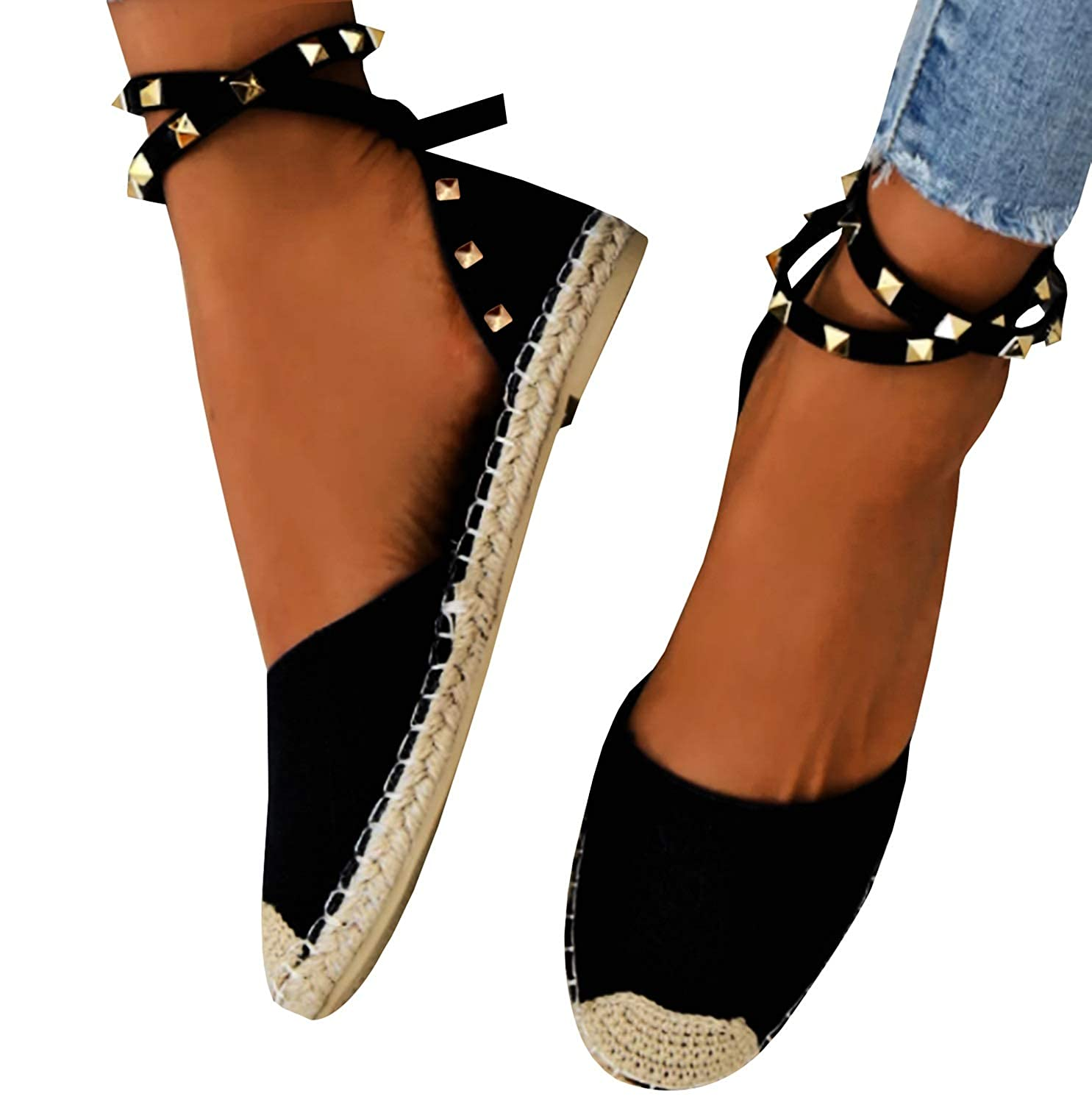 15f1d868a874f Nailyhome Womens Ankle Strap Flat Sandals Espadrille Cap Toe Rivet D'Orsay  Casual Summer Shoes