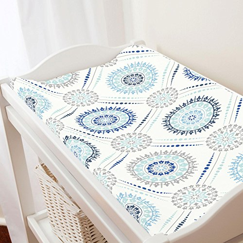 Carousel Designs Denim and Silver Gray Modern Medallion Changing Pad Cover - Organic 100% Cotton Change Pad Cover - Made in The USA (Denim Pad Changing)