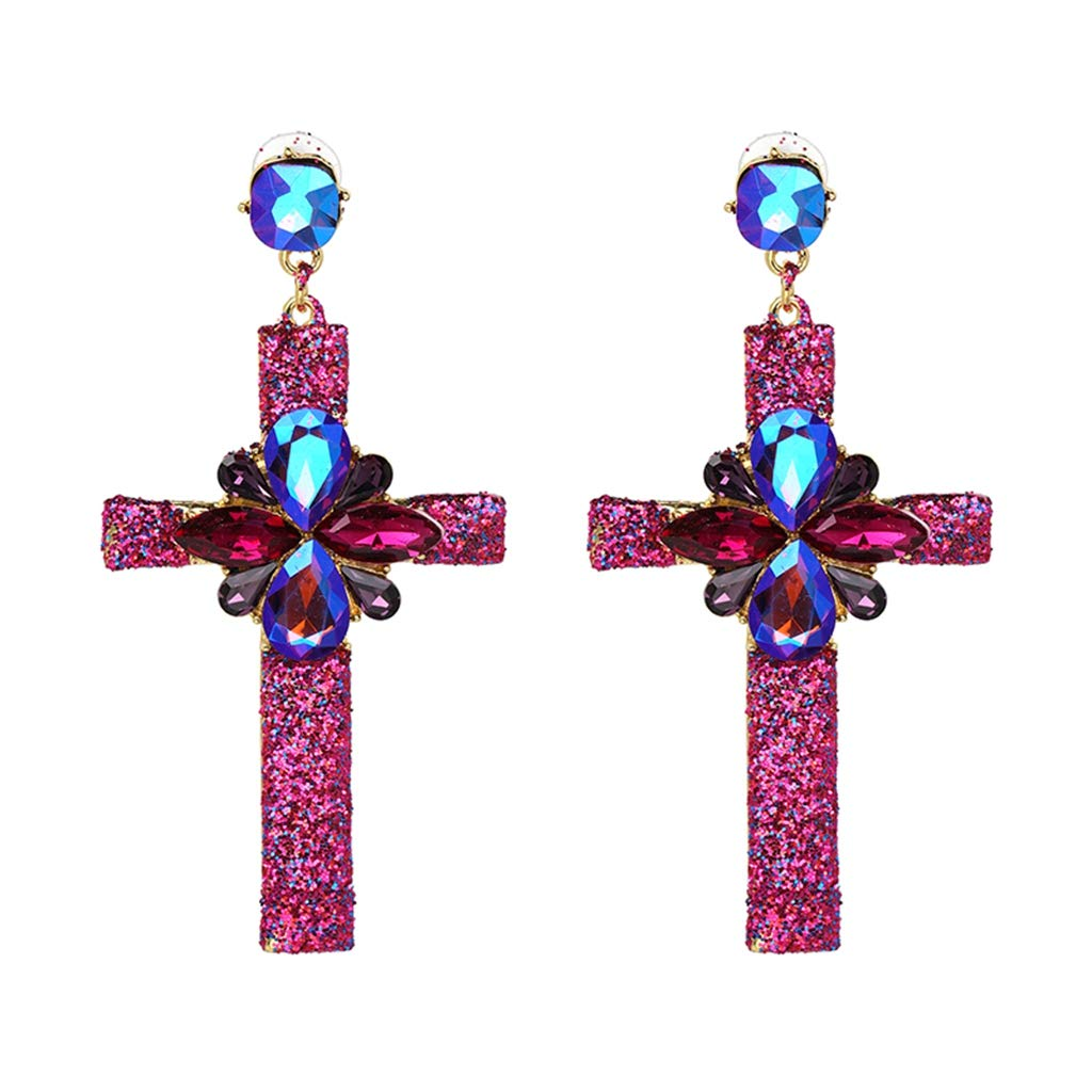 FashionDG Fine Texture Hot Earring Jewelry Crystal Multicolor Special Bohemia Big Long Cross Earrings oorbellen Wholesale
