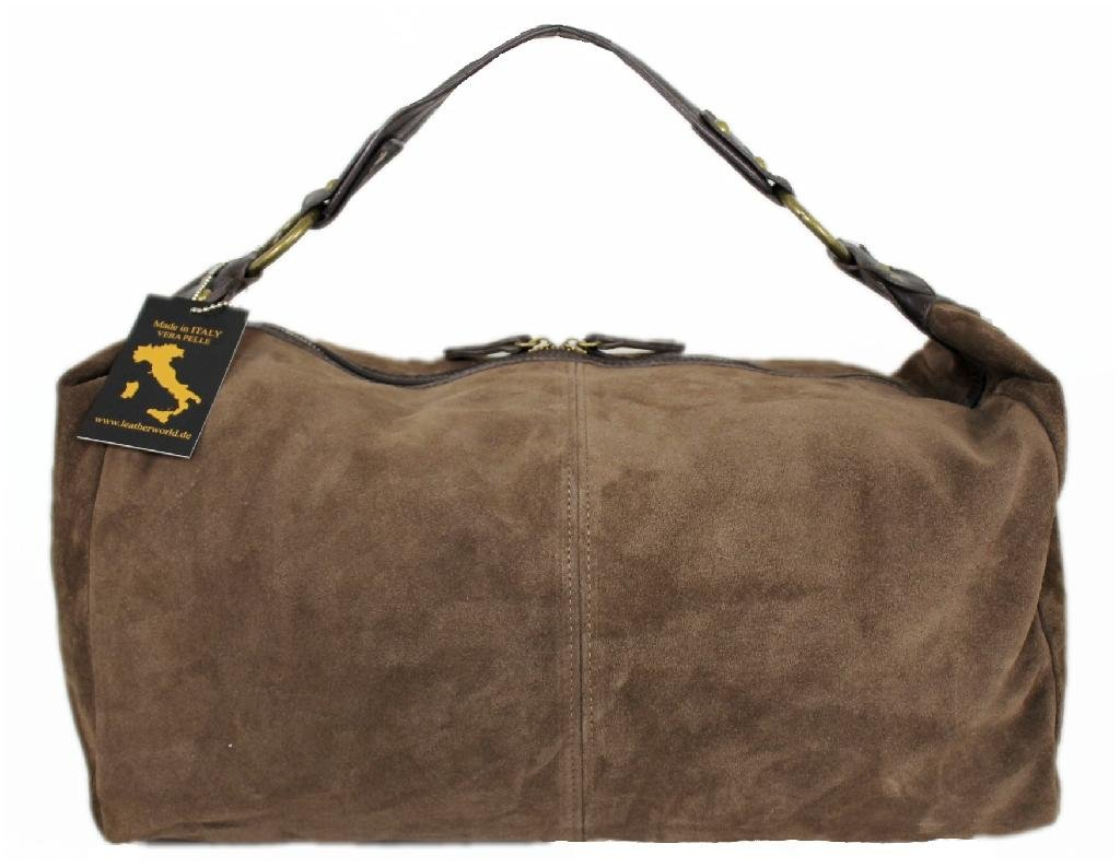 Läder dam axelväska/stor läderväska med dragkedja/XL Shopper av mocka LT28 toupe