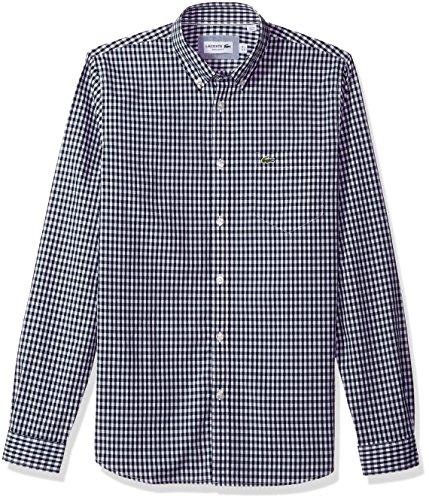 Lacoste Mens Long Sleeve Pocket Gingham Poplin Regular Fit Woven Shirt, CH9559