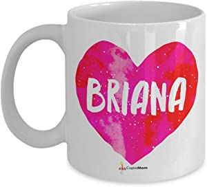 Briana - Name Pink Heart Mug - 11OZ Coffee Mug - Perfect for birthday, men, women, present for him, her, dad, mom, son, daughter, sister, brother, wife, husband or friend.