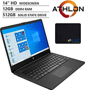 "2020 Newest HP 14"" HD Screen Laptop, AMD Athlon Silver 3050U Processor up to 3.20GHz, 12GB RAM, 512GB SSD, HDMI, Webcam, Wi-Fi, Bluetooth, Zoom Meeting, Online Class, Windows 10, KKE Bundle, Jet Black"