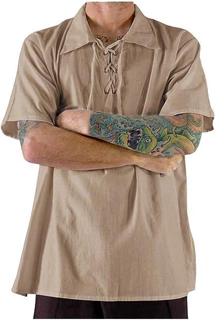 UUYUK Men Regular Fit Turn Down Collar Stripe Print with Pockets Classic Long Sleeve Button Down Blouse Shirt