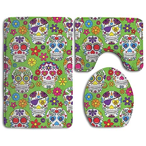 Fallake Green Colorful Sugar Skull 3 Piece Bathroom Rug Mat Set Soft Memory Foam Bath Carpet Contour Rug with Lid Cover ()