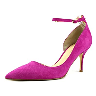 Ivanka Trump Womens Brita Suede Pointed Toe Ankle Strap Purple Size 6.5