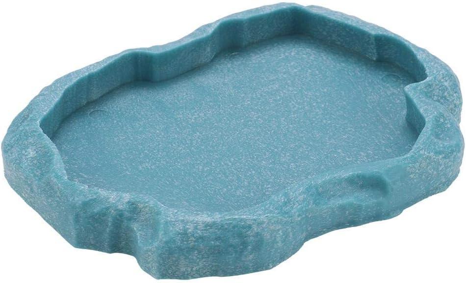 HEEPDD Reptile Bowl, Resin Rock Reptile Food and Water Feeder Pet Aquarium Ornament Terrarium Dish Plate for Tortoise Lizard Chameleon Iguana