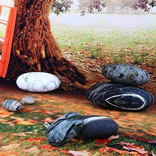 WOWMAX Three-Dimensional Curve Living Stones Floor Pillows Random Combination 7 Piece Set Mixed Designs Home Decoration Stuffed Throw Pillows Big Rock Pillows Pebble Pillows 7 PCS Mixed Styles