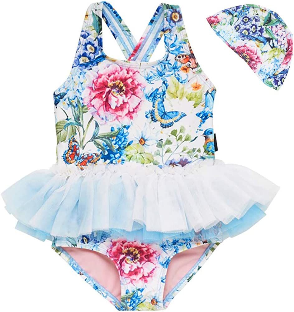 Toddler Baby Swimsuit Girls One Piece Swimwear Kid Stripe Floral Bathing Suit Rash Guard 1-5t