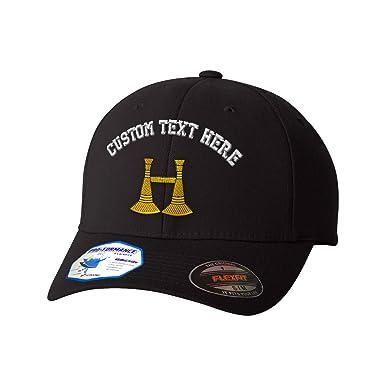 cb278ad29c1 Amazon.com  Custom Text Embroidered Firefighter Captain Symbol Flexfit Hat  Baseball Cap Black  Clothing