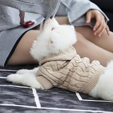 QKEMM Ropa para Perros de Mascotas Jersey de Punto Gorro Universal Gato y Perro Chaleco para Perros con Cálido para Clima Frío Resistente Al Viento Beige M con Capucha: Amazon.es: Productos para
