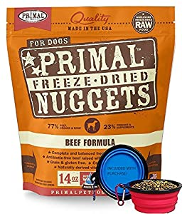 Primal Pet Food - Freeze Dried Dog Food 14-ounce Bag With Included Bonus Hot Spot Pet Food Bowl - Made in USA (Beef)