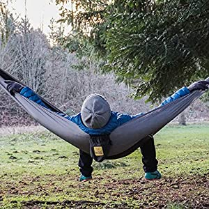 Hammock for Camping Single & Double Hammocks - Top Rated Best Quality Gear For The Outdoors Backpacking Survival or Travel - Portable Lightweight Parachute Nylon SO Black & Grey