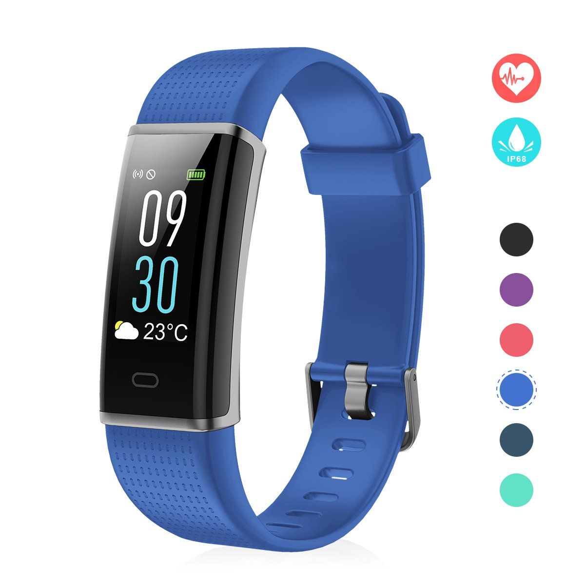 EFO SHM Fitness Tracker mit Pulsmesser, Schrittzä hler Uhr Fitness Armband Wasserdicht Schwimmen Aktivitä tstracker Schlafanalyse Kalorienzä hler Anruf/SMS Kompatibel mit iPhone und Android EFO-S 130C