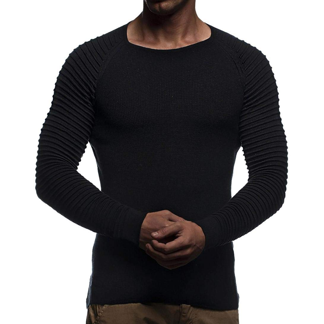 Hattfart Men's T-shirt Blouse Mens Long Sleeve Striped Knit T Shirts, Autumn Winter Slim Fit Casual Bodybuilding Muscle Tops (Black, L)