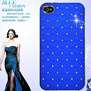 Cheap Cool Elegant Back Leather Mobile Phone Bags & Case For Apple iPhone 4 4S Bling Rhinestone Diamond Cover For iPhone 4S - Color white