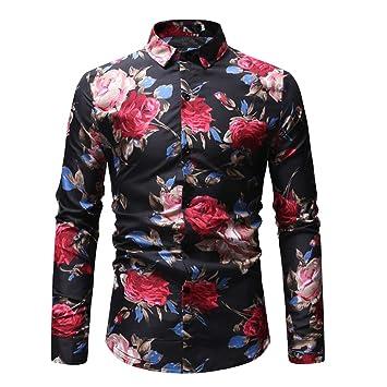 d1a3fe7ad0 Baoffs Camisa de Vestir Slim fit para Hombre Otoño e Invierno Casual de Gran  tamaño Camisa de los Hombres Personalidad ...