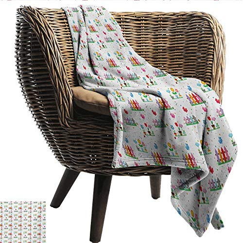 (Anshesix Home Throw Blanket Floral Bedding Plants Garden Fences Cottage Yard Flowers in Pots Childish Beetles Pattern Lightweight Super Soft Comfort W60 xL80 Sofa,Picnic,Camping,Beach,Everyday use)