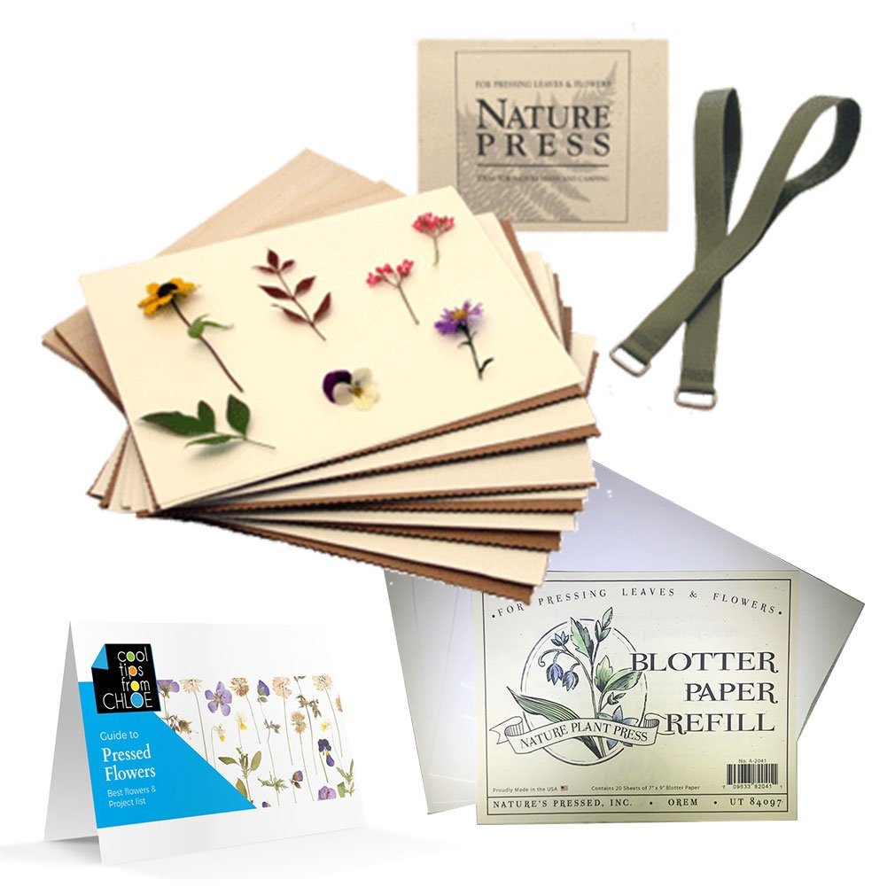Nature's Pressed Flower Press for Adults/Kids, Blotter Paper and Guide to Pressed Flowers by Nature Press