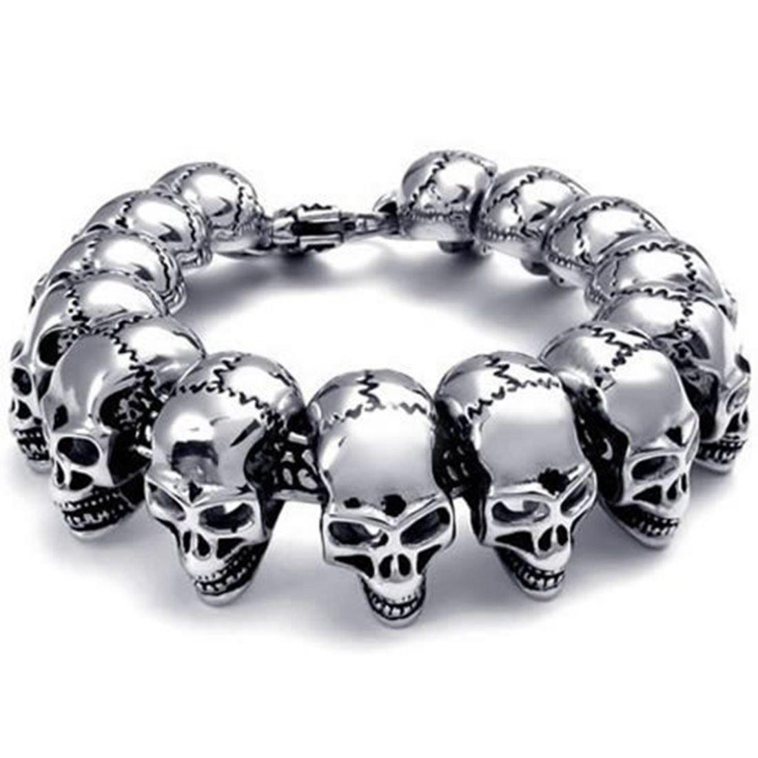 Elove Jewelry Large Gothic Skull Biker Stainless Steel Men's Bracelet Lovejewelry ELV201503000