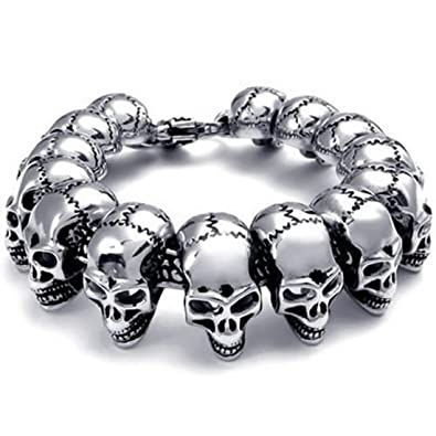 Amazoncom Elove Jewelry Large Gothic Skull Biker Stainless Steel