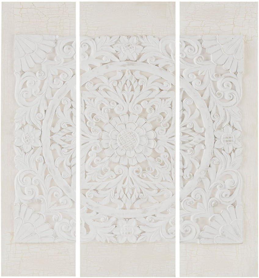 Madison Park White Mandala 5D Embellished Canvas Wall Art Modern Damask  Design 5 Piece Set Multi Panel Stretched Abstract Global Inspired Living  Room
