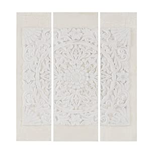 Madison Park Embellished Wooden Mandala Wood White Canvas Wall Art Modern Damask Design 3 Piece Set Multi Panel Stretched Abstract Global Inspired Living Room Accent Décor, Size