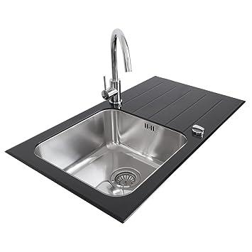 valle elsa designer black glass stainless steel kitchen sink 860 x 500mm reversible single bowl. beautiful ideas. Home Design Ideas