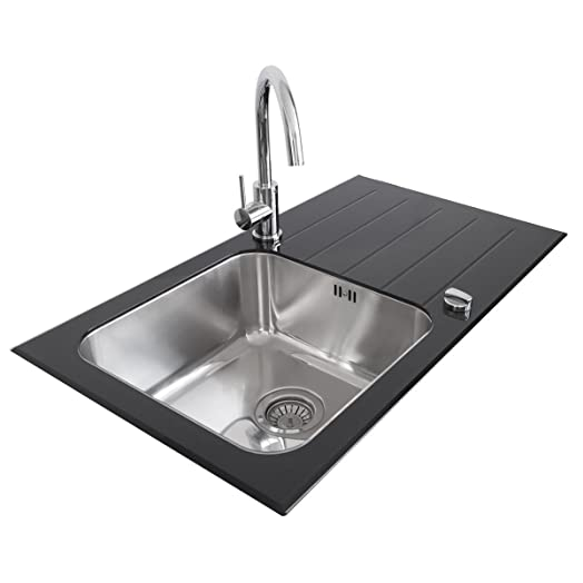 Valle Elsa Designer Black Glass & Stainless Steel Kitchen Sink 860 ...